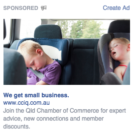 What's going on in this Facebook ad? CCIQ marketing is mixing it up.