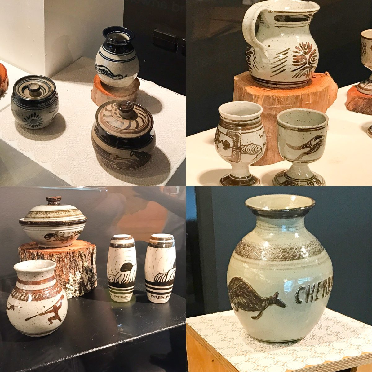 Image collage of four images of pottery by the Cherbourg Potters.