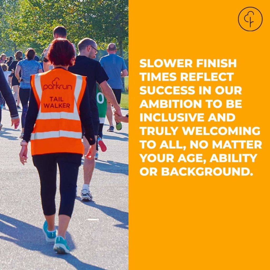 Slower finish times reflect success in our ambition to be inclusive and truly welcoming to all, no matter your age, ability or background.